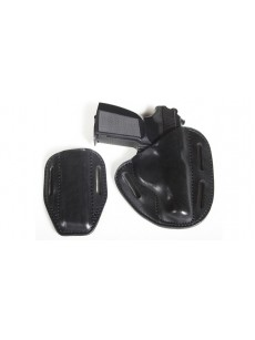 "VEKTOR Holster with belt open with cover mag-n for ""PM"" tension. leather, Bodyguard-1"